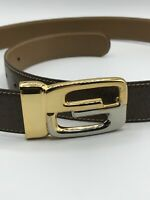 "Authentic Gucci Parfums Belt Silver/gold Interlocking GG MOD BREV Italy 36"" NEW"