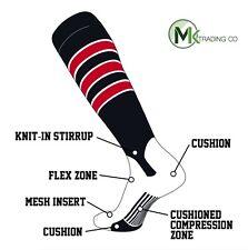TCK® 2 in 1 Elite D/5 LARGE Black–White–Scarlet Red Knee-High Stirrup Socks NEW