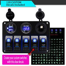 5 Gang LED Rocker Switch Control Panel 12v 24v Car Boat Marine 2 USB Voltmeter