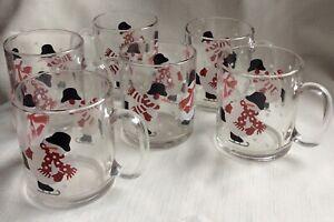New Crate & Barrel Christmas Glass Mug Set Of 6 Skating Snowman Motif