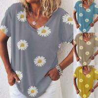 Womens Loose Shirt Tee Ladies Short Sleeve Daisy Blouse Sweatshirt Holiday Tops