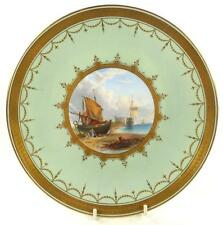 ANTIQUE 19TH CENTURY MINTON PORCELAIN CABINET PLATE COASTAL SHIP SCENE GILDING