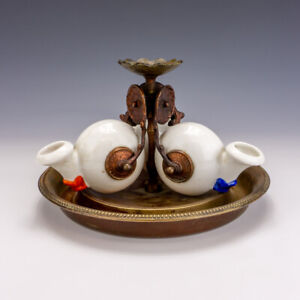 Antique French Porcelain - Snail Shaped Triple Inkwell - Ink Stand