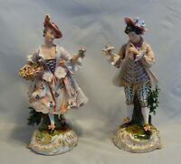 """Frankenthal Porcelain Pair of Man and Woman Figurines 10"""""""