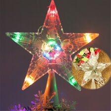 Light LED Lamp Decoration Colorful Flashing Xmas Christmas Tree Topper Star Room