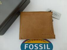 FOSSIL 2in1 Soporte de tarjeta Cartera de Cuero INGRAM Cognac & Bilfold carteras Nuevo Y En Caja R £ 39