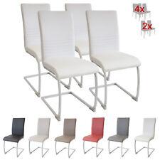 Esszimmerstühle MURANO, 4er Set, weiss, Freischwinger Schwingstuhl Stuhl Leder
