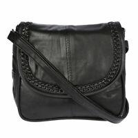 Kleine Damen echt Leder Umhängetasche Schultertasche Bag Schwarz Tasche Neu