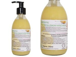 Lemon And Tea Tree Antiseptic Liquid Hand Wash, Glass Bottle Of 250ml