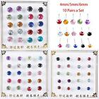 10 Pairs/Set Sweet 925 Silver Plated Ear Stud Colorful Crystal Earrings Jewelry