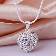 New Silver Plated Silver plated Rhinestone Crystal Heart Locket Pendant Necklace