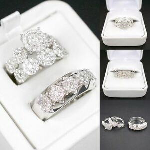 His Her Engagement Wedding Band Ring Trio Set Round Diamond 14K White Gold Over