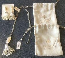 NWT Kendra Scott Pearl Eva Tassel Necklace and Dove Earrings Set