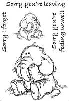 Unmounted Rubber Stamps Sorry Sad Poorly Elephant