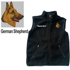 German Shepherd Dog Fleece Vest with Zippers Personal Name Stitched Monogrammed