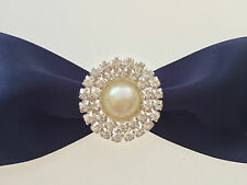 10 x Double Round diamante  buckle with pearls for Wedding  invitation