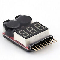 1-8S 2 in1 RC Li-ion Lipo Battery Low Voltage Meter Tester Buzzer Alarm XG