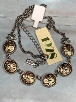 "Signed 1928 Gold And Silver Intricate Link Pendant Necklace 16"" New With Tags"