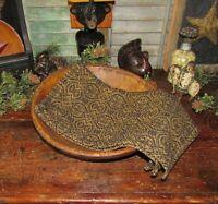 Prim Antique Style Pebble Brook Blk Mustard Cotton Woven COVERLET RUNNER RQ2BMSR