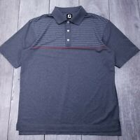Footjoy FJ Golf Polo Shirt Mens XL Gray Stripe Performance Short Sleeve P21