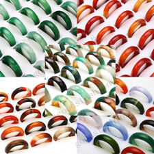 5style 30Pcs Wholesale Ring Lots Natural Agate Gemstone Jewelry Band Rings Gift