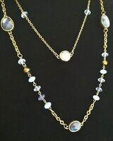 """Robert Rose Gold Tone & Blue Acrylic Beaded Double Chain Necklace 34"""" Long"""