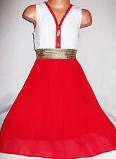 GIRLS WHITE LACE GOLD ZIP TRIM RED CHIFFON CALF LENGTH PARTY DRESS age 3-4