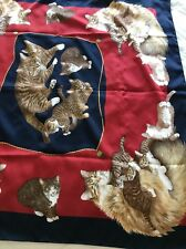 """Vintage Symphony Scarf  Kitty Cat Design, Made In Italy 34"""" X 34"""""""