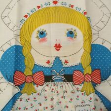 """Cotton Fabric Panel cloth doll pillow Vtg 70s Springs Ind. Dutch Girl 20"""""""
