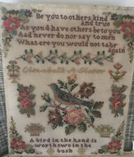 ANTIQUE SAMPLER. by ELIZABETH A GLOVER.  - BIRD & FLOWERS