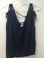 Lucy Love Tank Top M Navy Blue sleeveless Womens Strappy Tie Back Stretchy