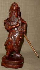 ANTIQUE~Stunning HAND CARVED CHINESE ROSEWOOD GUAN-YU or GUAN-GONG FIGURINE