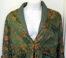 Vtg Large Womens Green Asian Robe Housecoat Lined Pagodas People Red Gold