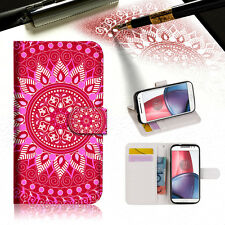 Hot Pink AZTEC TRIBAL Wallet TPU Case Cover For Motorola Moto X Force-- A004