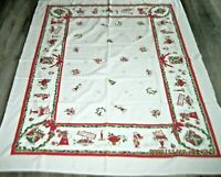 Vintage Christmas Cotton Tablecloth w/Carolers/Bells/Holly/Ribbon etc.~52 x 62