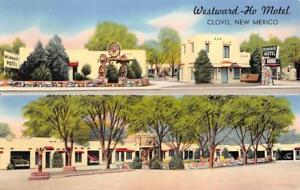 Westward-Ho Motel, Clovis, New Mexico Roadside ca 1950s Vintage Postcard