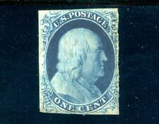 USAstamps Unused FVF US 1851 Franklin Imperforated Blue Scott 9 OG MNH