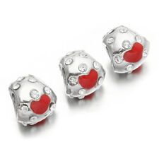5pcs Rhinestone Inlayed Alloy Red Enamel Love Heart Beads Fit European Charms J