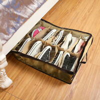 12 Pairs Shoe Organizer Zippered Shoes Storage Holder Container For Under Bed US