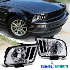 2005-2009 Ford Mustang Headlights Head Lamps Assembly Replacement Chrome Clear