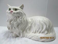 White Ceramic Persian Cat Figure Statue Green Eyes 16� Long Vtg 60's Handmade