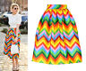 1973 Chevron Stripe Neon Rainbow Colourful Full Pleated Midi Skirt Satin Taffeta