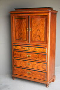 Antique Provincial Scandinavian tallboy cabinet carved doors chest hand painted