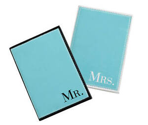 Mr & Mrs  Aqua Passport covers or Mr. Mrs. More Mrs. Luggage Tags wedding gift