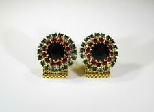 Wrap Around Cufflinks with Green Red and Black Rhinestone Bling