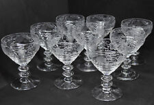 Bryce Georgian Champagne Glasses Set of 9 w/ Grape Vine Cutting Art Deco 575-4
