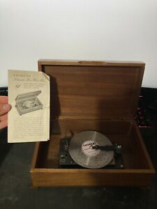 Vintage Thorens Automatic Disc Music Box W/ One Disc & Manual! Works!