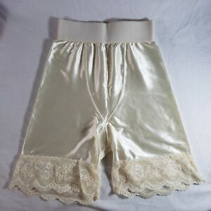 Victoria's Secret Second Skin Satin Girdle Panties Small White Ivory Cream Lace