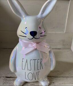 "Rae Dunn 2021 Iridescent Easter Bunny ""EASTER LOVE"" NEW! GORGEOUS!! 💜💛🧡💚"
