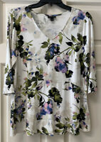 J Jill Wearever Womens M V Neck 3/4 Sleeve Colorful Floral Popover Shirt Top
